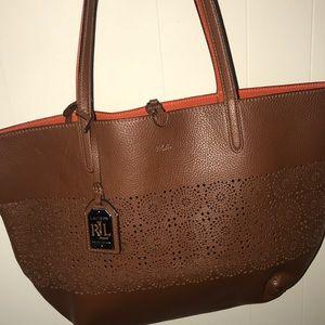 Lauren Ralph Lauren Brown Bag w/ Orange Interior